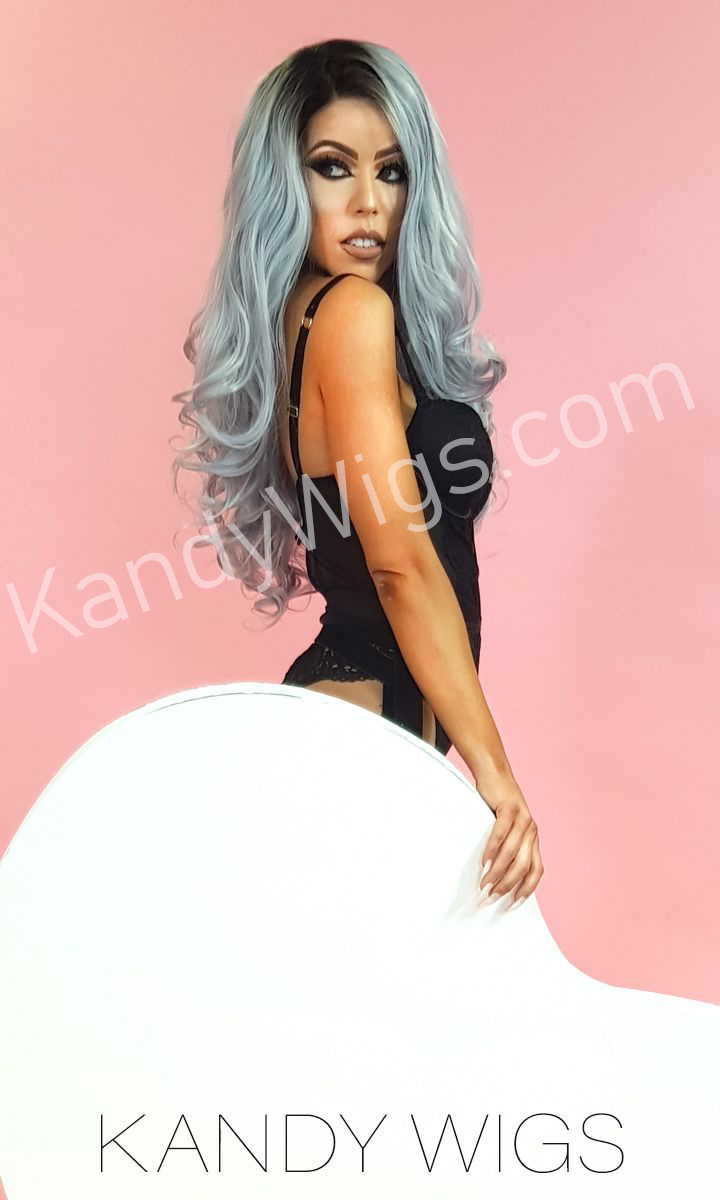 LACE FRONT WIG STYLE ROOTED GREY WAVY