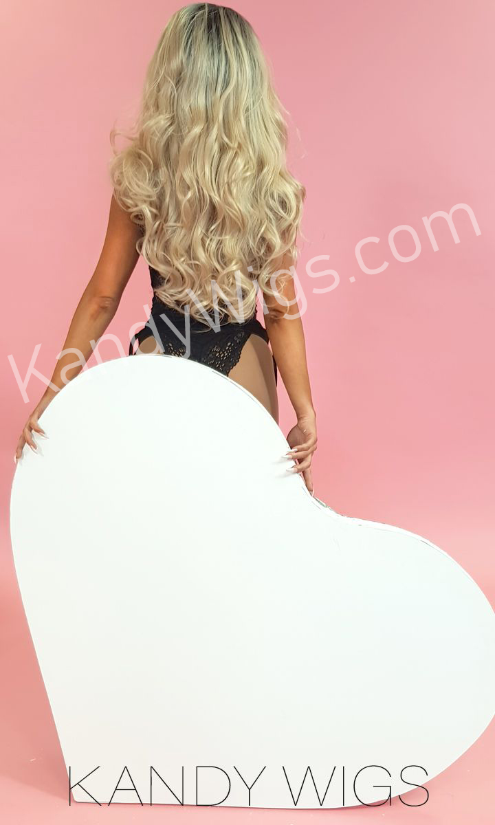 LACE FRONT WIG STYLE ROOTED WAVY BLONDE
